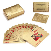 Wholesale gold playing cards dollar for sale - Group buy 200sets Gold foil plated playing cards Plastic Poker US dollar Euro Style and General style With Certificate