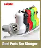 Wholesale jack plug charger - 2 ports usb charger car charger dual interface colorful 2.1A Bullet auto power adapter plug in lighter jack for universal cellphone CAB015