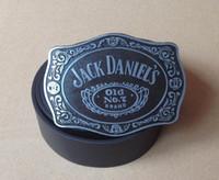 "Wholesale Car Brand Belt Buckles - Oval Jack Old No.2 Brand Wine Belt Buckle And 1.5""PU Black Screw On Belt Native Style"