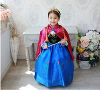 Wholesale Girls Silk Dresses Sleeves - Frozen dresses Spring Autumn Baby Girl Child Kids Party Long Sleeve Frozen Princess Anna Costume Long Formal Dress with Cape(1701019)