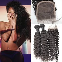 Feixes de tecido russo de Virgin Virgin com fecho de renda Swiss Lace 4 * 4 Top Closure With 3pcs Hair Bundles Deep Wave Extensão de cabelo humano G-EASY