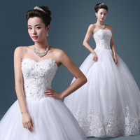 Wholesale Wedding Dresses Soft Elegant - Romantic Soft Tulle Sweetheart Ball Gown Wedding Dress With Lace Appliques 2018 Elegant Marriage Dress Lace Up