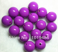 Wholesale Large Chunky Acrylic Beads - Wholesale-Bright hot purple Large 20MM 105pcs Big Chunky Gumball Bubblegum Acrylic Solid Beads ,Colorful Chunky Beads for Necklace (B02)