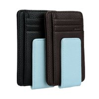 Wholesale Leather Cash Clip - Fashion Men Money Clip Wallet Top Quality PU Leather Magnetic Money Cash Credit Card Business Thin Purse Holder Black Coffee