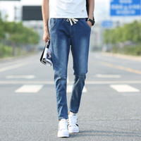 Wholesale Slack Rope - Summer summer wild nine points jeans Slim simple solid color jeans male teenagers Department Rope slack tide tight waist pants