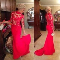 Wholesale High Neck Back Lace Dress - High Neck Red Long Sleeves Court Train Zipper Back Lace Applique Mermaid Chifffon Prom Dresses Evening Party Gown Club Wear Free Shipping