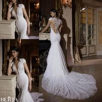 Wholesale Plunging Neckline Mermaid Wedding Dresses - 2016 New Berta Sexy Plunging Necklines Mermaid Wedding Dresses Cap Sleeves 3D-Floral Appliques Illusion Zipper Back Long Bridal Gowns BA0264