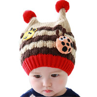 Wholesale Ladybug Winter Kids Hats - Retail Unisex Baby Cute Two Horn Beanies Ladybug Stripe Hats Child Kids Winter Warm Knit pom pom Caps 6-24M MZ3051 Free Shipping