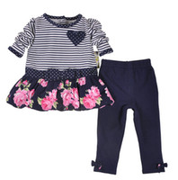 Wholesale Cloting Girl - New Spring Baby Girl Clothes Set Long Sleeve Stripe Dress+ Leggings 2 Pieces 100% Cotton Baby Floral Cloting