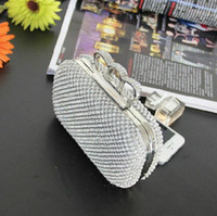 Wholesale Designer Evening Bag Clutch Ring - Fashion Designer Silver Gold Wedding Bridal Hand Bags Ladies Handbags Crystal Rhinestone Ring Stain Metal Evening Clutch Bag Hard Box Purse
