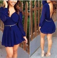Wholesale Playsuit Dresses - New Fashion In Summer Womens Jumpsuit Sexy Chiffon V-neck Long-sleeve Backless Short Playsuit Macacao Feminino new arrive superb!free s