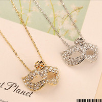 Wholesale Mask Diamond Pendants - Free Shipping!Wholesale Fashion Jewelry exquisite Cubic Zircon diamond fox mask Pendant Necklace crystal sweater chain