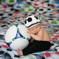 Wholesale Baby Crochet Football - 2015 Crochet Baby Football Hat shorts Set Newborn Photo Costume Infant Boy Knitted Photography Props 1set MZS-15046