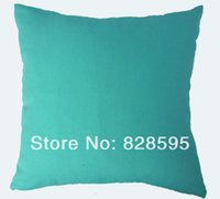 "Wholesale Turquoise Cushion Covers - EA205 - 16 x 16""   40 x 40CM light misty turquoise Cotton Canvas Cushion Cover Pillow Case (1pcs) Hong Kong Post tracking number"