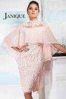 Wholesale Dresses Bride Taffeta - 2016 Pink Mother Of Bride Groom Dresses Sheath High Neck Sheer Back Knee Length Applique Beads Janique W1011 Custom