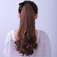 Wholesale Black Ponytail Cosplay Wig - Fashion Ladies Ponytail Wigs Clip Wave Curly Rinka Hairwear Cosplay Make Up Hairpiece HW123