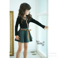 Wholesale Children Clothing Korea - Kids Girls Suits Dot clothes+skirts Children girls Autumn set outfits Sets Children baby Korea style Suit baby clothes set of 2