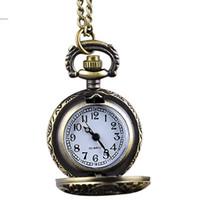 Wholesale Locomotive Clock - 2014 New Fashion Hot Sale Locomotive Vintage Style Bronze Steampunk Quartz Necklace Pendant Chain Clock Pocket Watch #3