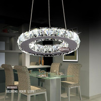 Wholesale Modern Led Ring Chandelier - Modern Silver Crystal Ring LED Chandelier Pedant Crystal Lamp   Light   Lighting Fixture Modern LED Circle Light