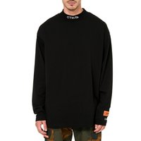 Wholesale Turtle Neck Sweatshirts - HERON PRESTON STYLE Mock Neck T-Shirt Men Women Black Long Sleeve Cotton Tee Shirt Letters Embroidered Turtle Neck Sweatshirt LDG1203