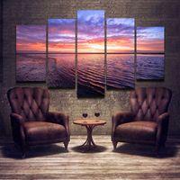 Wholesale Ocean Canvas Paintings - Cuadros Decoracion 5 Panel Ocean Oil Painting Printed Painting Oil Painting On Canvas Oil Painting for Home Decor Wall Decor