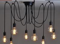 vintage sanat ücretsiz toptan satış-Ücretsiz Nakliye 6/8/10/12/14 kafaları Amercian vintage kolye ışık asılı lamba siyah vintage E27 40 W Retro kolye ışıkları