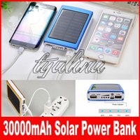 30000mAH Carregador solar 2 portas bateria externa para celular iPhone 6 / 6s / 7 / 7plus 8 Samsung Portable Power Bank