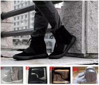 светящиеся баскетбольные ботинки оптовых-Boost 750 светло-серый Gum Glow коричневый черный Kanye West обувь 750 Boost баскетбол обувь Спорт Kanye West кожаные ботинки