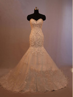 Wholesale New Tulle Satin With Lace Appliques Mermaid Wedding Dress Court Train Sweetheart Wedding Gown Lace Up