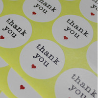 Wholesale Thanks For Wedding Gifts - 3.8cm Round Thank You Heart Design Sticker Labels Seals Gift Stickers For Wedding Party Invitation Envelope Baking Sealing Tag