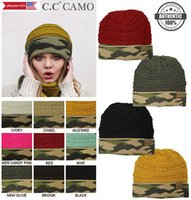 Wholesale Wholesale Camo Beanies - New! CC CAMO Beanie Knitted Trendy 9 Colors Simple Winter Solid Cable Knit Hat Cap 50pcs LJJY788