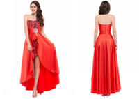 Wholesale High Low Bridesmaids Dresses - Luxury Red Elastic Satin Bridesmaid Dress High Low Beaded Crystal Sweetheart Pleats Sleeveless Off The Shoulder Prom Evening Party Gowns WG