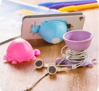 Wholesale Suction Earphone - Free shipping Silicone Phone Holder Suction stand earphone wrap bobbin winder Tortoise style turtle shape