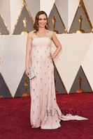 Wholesale Emily Blunt Dresses - Sparkling Beading Pink Long Celebrity Evening Gowns for Women 2016 Oscar Emily Blunt Party Prom Dressess Pageant Wear