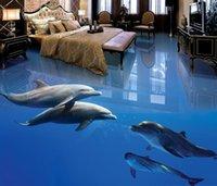 подводный дельфин оптовых-Dolphin Underwater World 3D ванная комната гостиная пол 3d напольные обои ПВХ для ванной