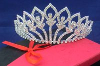 Wholesale Diamante Bone - Luxury Sparkling Silver Color Wedding Diamante Pageant Tiaras Prom Crystal Bridal Crowns For Bride Hair Jewelry Accessories