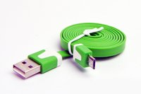 şapka galaksisi toptan satış-2 M V8 Düz Şehriye Kablo Mikro USB 2.0 USB Data Sync Şarj tarih hattı Samsung Galaxy S3 Not2 HTC için
