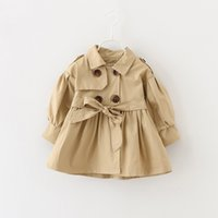 Wholesale Girs Coat - New Girs Coat Fashion Double Breasted Children Windbreaker Baby Boutique Clothing Autumn Spring Ruffle Toddler OutWear C2526