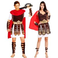 Wholesale Knight Costume Woman - Wholesale-Ancient Roman Warrior Gladiator Costumes Masquerade Party Women Men Knight Julius Caesar Halloween Adult Cosplay Couple Cotume