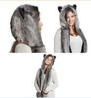 Wholesale fur scarf hat - Wholesale-5 Design Faux Fur Winter Hat Animal Wolf Hood Scarf Gloves Ladies Girls Mens Xmas Spirit Free Shipping
