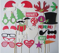 mustache, lábios, varas venda por atacado-Natal e dia das bruxas 28 pçs / lote diy foto cabine adereços bigode lip hat antler presente vara festa de natal