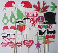 schnurrbart lippen maske großhandel-Weihnachten Und Halloween 28 teile / los DIY Photo Booth Requisiten Schnurrbart Lippenhut Geweih Geschenk Stick Weihnachtsfeier