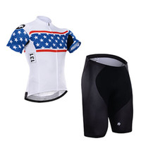 Wholesale Star Cycling Jersey - 2015 WHITE BLUE STARS Men Short Sleeve Cycling Suit cycling outlet ciclo Jersey + Shorts Plus Size maillot with Gel pad 5XL available