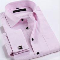 Wholesale Logo Shirts Business - Wholesale-YIBIN Men Business Dress Shirts Turn-down Collar Shirt cufflinks Regular Solid customized logo