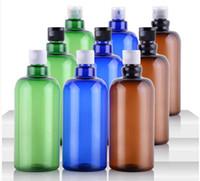 bouteille en plastique marron achat en gros de-500 ml Vide En Plastique PET Marron Bleu Vert Long Clapet Cou Bouteille Cosmétique Émulsion Emballage Bouteille Rechargeable Livraison Gratuite