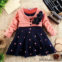 Wholesale Knitted Children Clothes - New 2-5 Years Child Clothes Corsage Girl Winter Dresses Baby Princess Dress Flower Knitted Long Sleeve Patchworl Dots Mini Dress SV005851