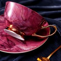 europäischer stil knochen porzellan gesetzt großhandel-Porzellan Keramik Nachmittag Schwarzer Tee Tassen Und Untertassen Europäischen Stil Bone China Kaffeetassen Untertassen Löffel Drink Set Geschenke