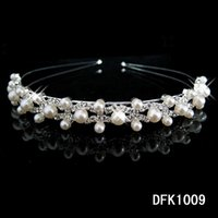 Wholesale Hot sale pearl crystal wedding princess tiara headband rhinestone pageant crowns for bride hair