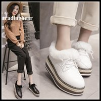 Wholesale Wedge Ankle Bootie - Fashion Fur Black White PU Leather lace Up Oxford Platform Shoes Mid Heels Ankle Bootie Size 34 to 39