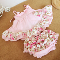 Wholesale Swing Tops Bloomers - Hot summer children suit baby girls Bow floral falbala suspender swing tops + floral falbala bloomers Briefs 2pcs babies clothing